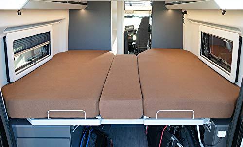 LIVING AIR Wohnmobil Spannbetttuch Set 3 teilig - 2 Längsbetten + Mittelteil - geeignet für alle Fiat Ducato, Citroen Jumper, Peugeot Boxer (Wohnmobile/Wohnwagen) - Spannbettlaken für Heckbett (BROWN)