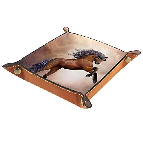 Bandeja de Cuero Animal Horse Fantasy Almacenamiento Bandeja Organizador Bandeja de Almacenamiento Multifunción de Piel para Relojes,Llaves,Teléfono,Monedas