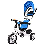 Toddler Tricycle Push Bike, Kptoaz 2-in-1 Baby Trike Strollers with Adjustable Parent Handle, Canopy, Storage Basket & Safety Harness Stroll Tricycle for Kids Aged 1-5 Years Old
