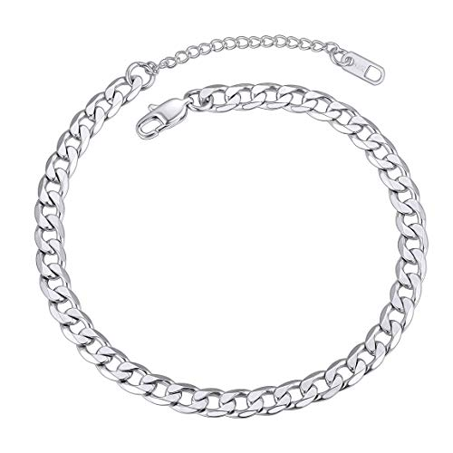 Anklets for Teen Girls Stainless Steel No Color Changing Cuban Link Ankle Chain