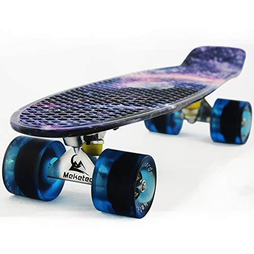 MEKETEC Skateboard Youth 22 inch Mini Cruiser Retro Starry Adults Skateboards for Kids Boys Girls Beginners Child Toddler Teenagers Dog Age 5 (Purple Galaxy)
