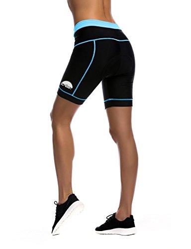 iCreat Damen Fahrradhose Radhose Kurz Radlerhose Radshort Sporthose mit Sitzpolster, Blau GR: DE M/ ASIA L - 4