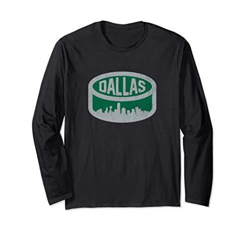 Cool Dallas Hockey Puck City Skyline Long Sleeve T-Shirt