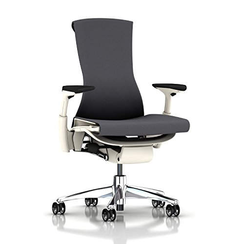 Herman Miller Embody Ergonomic Office Chair with White Frame/Aluminum Base | Fully Adjustable Arms and Hard Floor Translucent Casters | Charcoal Rhythm