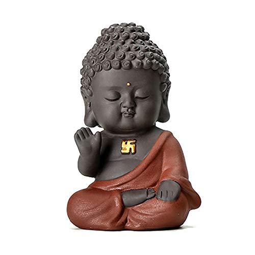 Carefree Fish Small Ceramic Buddha Statue Figurine Baby Buda Home Decor Desk Decoration