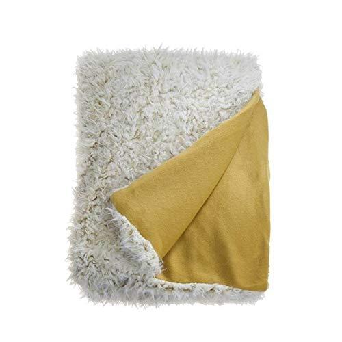 Salvo sprei 150 x 200cm knuffeldeken slaapdeken geel oker warm zacht gezellig