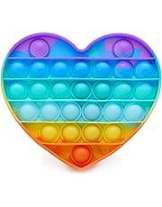 PHONILLICO Fidget Toy Silicone Coeur Multi-Couleurs Jeu Anti Stress Push Jouet Toys Bubble