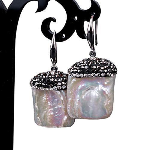 GUMEI Pendientes Colgantes de Perlas cuadradas cultivadas de Agua Dulce barrocas Blancas bañadas en Plata