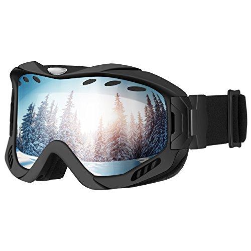 OMORC Gafas Snowboard, Gafas Esqui, Unisex,Lente de Doble Capa, Protección UV y Antiniebla OTG Gafas de Esquí, Sistema de Ventilación, Ideal para Esquí, Patinaje, Motociclismo, Equitación(Negro)
