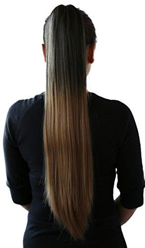PRETTYSHOP Clip de en las extensiones postizos extensiones de cabello pelo liso largo hechos de fibras sintéticas resistentes al calor 70cm ombre negro marrón # 1BT27 H115