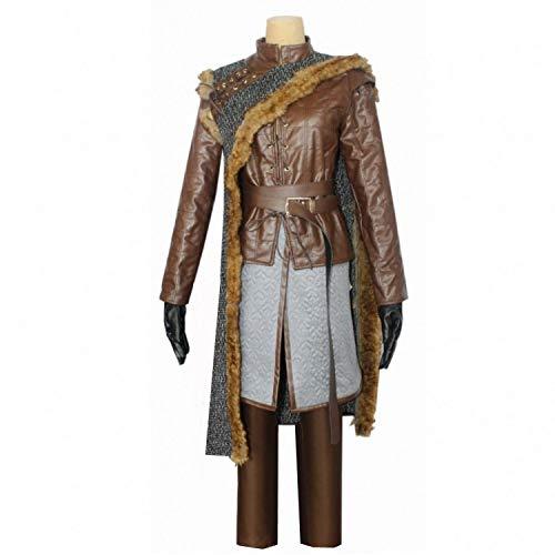 LOTOTLOMCA Juego de Tronos Cos Arya Stark Disfraces de Accesorios para Adultos Ropa de Baile Incluye Chal de Lana + Chaqueta de Cuero + Delantal + Pantalones + Cinturón + Guantes de Cuero,S