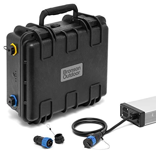 Bronson Outdoor MB 100 12V Lithium-Ionen Batterie 100Ah wasserdicht für Bootsmotoren, inkl. 20A Ladegerät und Anschlussstecker