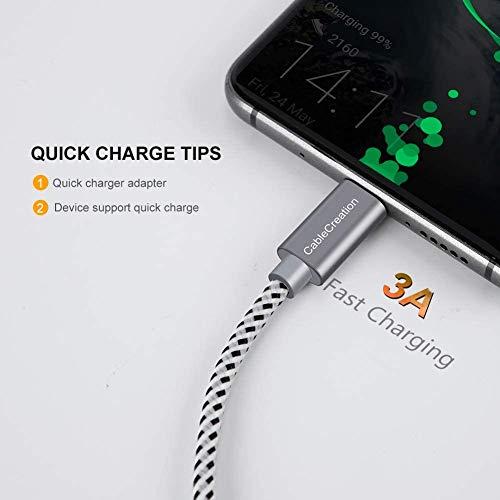 CableCreation 2 Stück 15cm Kurz USB C Kabel, Geflochtene USB-C auf USB Kabel, Typ C Schnellladekabel für Macbooks, Galaxy S8/9+/S20/S20+ Ultra, Huawei P20/P30, Sony Xperia XZ/Z5, HTC10 usw, Grau