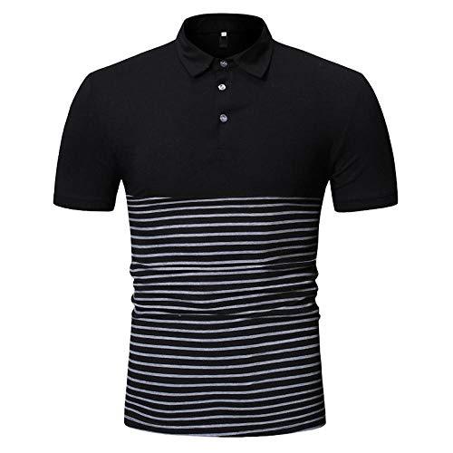 IYFBXl heren stripe grote maat splitten zomer korte mouwen polo T-shirt