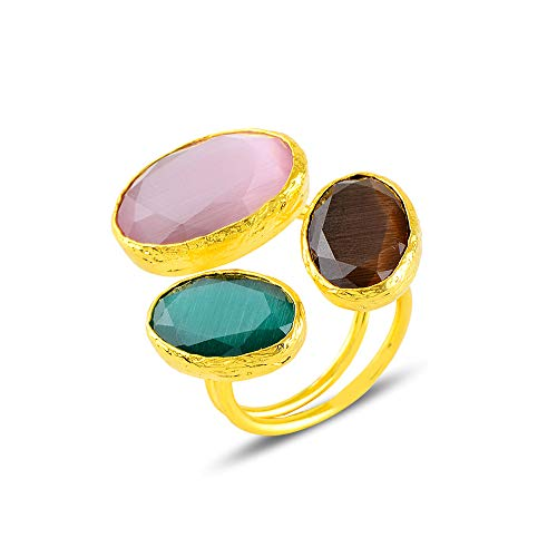 Eye Catching Tumbled Three Jade Gemstones Ring | Pink Green and Brown Jade Gemstones Adjustable Open Ring with 24k Gold Plated All Around | Elegant Jewellery Gift For Her
