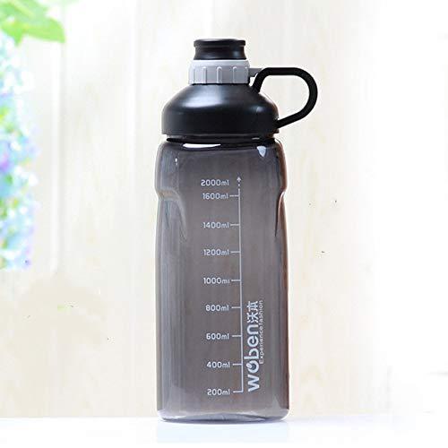 1500ml / 2000ml Botellas de Agua Deportivas de Gran Capacidad A Prueba de Fugas Gimnasio Fitness Sport Shaker Botellas de Bebida Camping Ciclismo Botella de Agua - 2000ml Negro