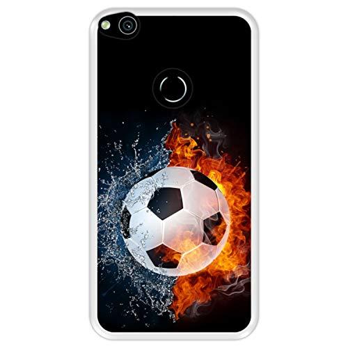 Funda Transparente para [ Huawei P8 Lite 2017 - P9 Lite 2017 - Nova Lite ] diseño [ Fuego y Agua, balón de Futbol ] Carcasa Silicona Flexible TPU