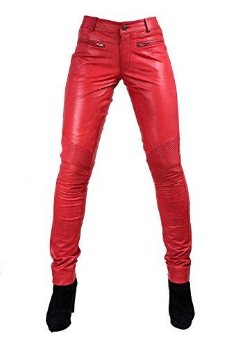 Unbekannt Yonna Damen Lederhose aus echtem Lamm Nappa Leder in diversen Farben (Rot, S)