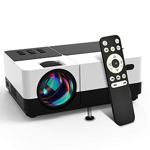 Wsky 2020 Portable Projector, Full HD 1080P Supported Outdoor Movie Projector, Home Theater, Compatible with DVD, TV Stick, PS4, HDMI, VGA, TF, Phone, Laptop and USB (Renewed)