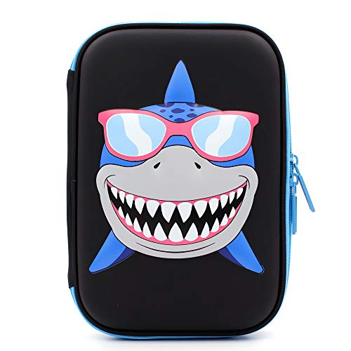 SOOCUTE Cool Shark Embossed School Boys Big Hardtop Pencil Case with Compartment - Cute Stationery Supply Organizer Box Pen Holder for Kids Children Toddlers (Black)