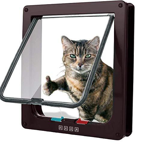 MorgenSegel - Gattaiola per cani con chiusura magnetica a 4 vie, 19 x 20 x 5,5 cm, facile da installare con telaio telescopico