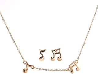 Aineecy Music Note Necklace Earrings Set Personalized Treble Bass Clef Music Note Stud Earrings for Women Girls Graduation Gift 2Pcs/Set