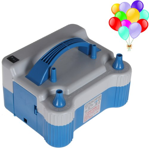 【The Best Deal】OriGlam Portable Dual Nozzle Blue White 110V 700W Electric Balloon Blower Pump, Electric Household Balloon Inflator Air Pump Blower for Birthday, Wedding Decoration