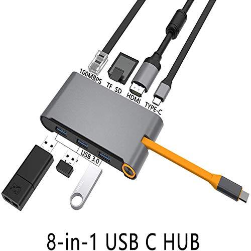 DOOK USB C Hub, 8 in 1 Type C Adapter mit 4K HDMI, 3 USB 3.0 Anschlüsse, 2 USB-C (Stromversorgung/Datenübertragung) USB C Hub für MacBook Pro,MacBook Air 2018,Samsung S8/S9,Huawei Mate20 usw.