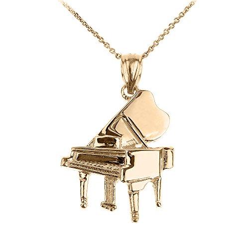 Halskette 14 Karat Gelbgold Piano Musik Anhänger Halskette (Kommt mit einem 45cm Kette)
