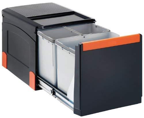 FRANKE Sorter Cube 41 Abfallsorter Abfalleimer Mülleimer Abfallsammler, schwarz, 40,8 x 49,5 x 33,5 cm