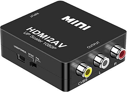 DIGITNOW! HDMI a AV 3 RCA CVBS Compuesto Adaptador Convertidor Conversor de Video y Audio de señal Mini 1080P Compatible con Cable de Carga USB para PC/Laptop/Xbox / PS4 / PS3 / TV/VCR Cámara DVD