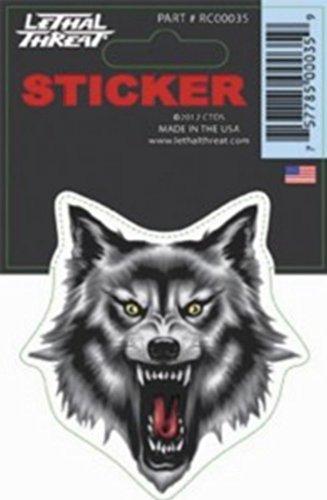 Sticker Tête de Loup Gris et Noir