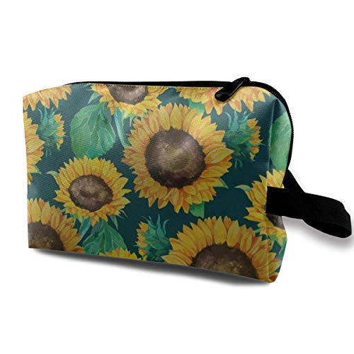 zmzm Kosmetiktasche Organizer Watercolor Sunflower Cosmetic Bag Makeup Bags for Women Travel Makeup Bags Roomy Toiletry Bag Accessories Organizer with Zipper