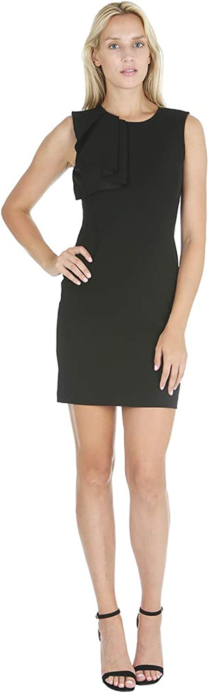 Bebe Womens Asymmetrical Ruffle Sheath Dress