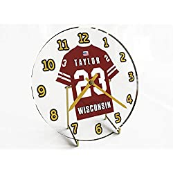 FanPlastic Big Ten College Football - Personalized Desktop Clocks - Size 7 X 7 X 2 - Any Name, Any Number, Any Team !!! (Wisconsin)