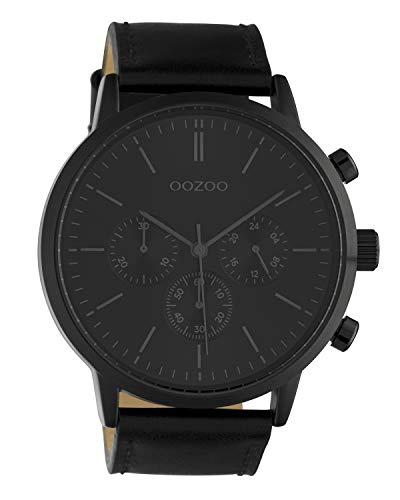 Oozoo Herrenuhr Chrono Look mit Lederband 48 MM Schwarz C10544