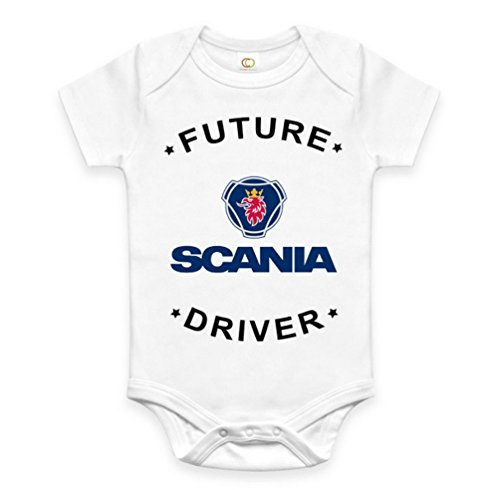 Rare New Future Scania Truck Driver Funny Baby Clothes Cute Unisex Bodysuit Onesie Short Sleeve Romper One Piece Prime Outfits with Sayings Body Bébé (6-12 Mois)