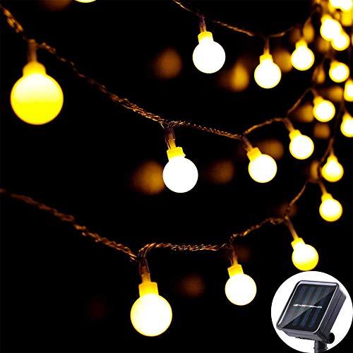 Solar String Lights Outdoor 60 D, 8M/27Ft Solar Fairy Lights, 8 Modes Waterproof Solar Powered Globe Lights, Garden Lighting for Home, Yard, Party, Festival, Christmas, Decoration (Warm White) BJY969