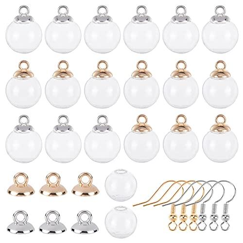 SUNNYCLUE 1 Caja 40 Piezas 18 mm Mini Botella de Globo de Cristal Transparente Vacía Wish Glass Ball 40 Piezas de Plástico para Colgantes Y Ganchos para Pendientes de Bricolaje, Plata Y Oro