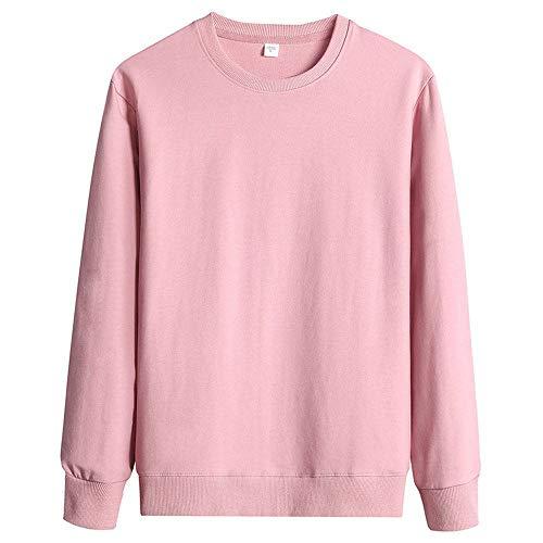 WANCHDP Sudaderas de manga larga para hombre, 100 % algodón, cuello redondo Rosa. XXL