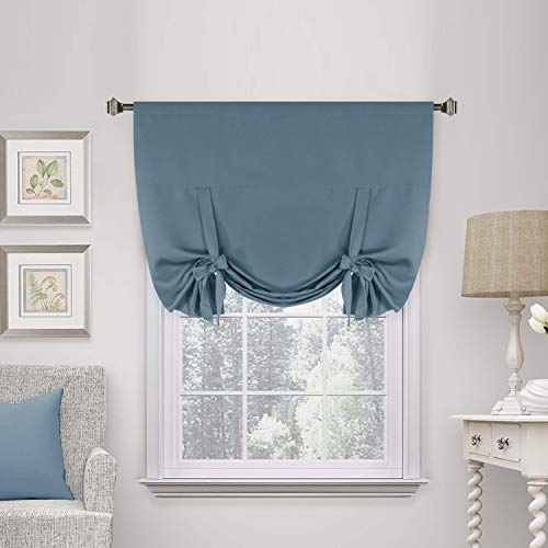 Thermal Insulated Blackout Tie Up Curtain Easy Care Adjustable Window Shade Rod Pocket Curtain Panel for Living Room, Privacy Assured (Stone Blue, 42W x 63L, Set of 1) - by H.Versailtex