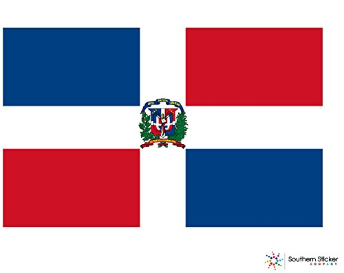 (3) country flag Dominican Republic 2x1 inches size - funny stickers for construction hard hat pro union working men lunch box tool box symbol window motorcycle biker car - Made and shipped in USA
