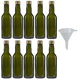 mikken - 10 botellas de cristal verdes de 250 ml, botellas de aceite con tapón de rosca con embudo.