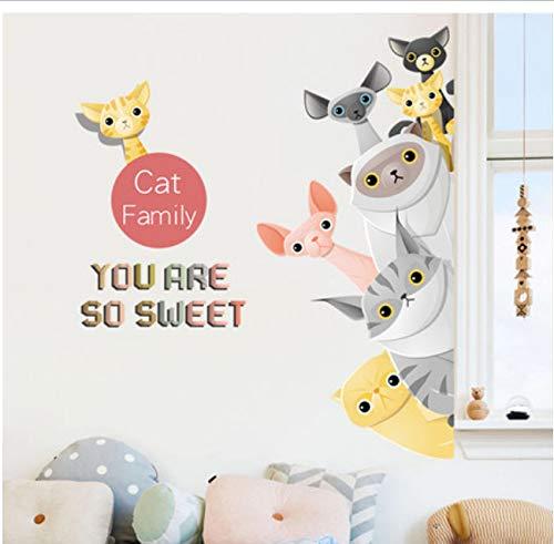 hfwh muursticker, om zelf te maken, cartoon, diermotief, kinderstickers, muurstickers, kinderfamilie, huisdecoratie, 60 x 90 cm