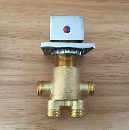 QYCP Quadrat Griff Messing Schaltventil Für Jacuzzi Wasserhahn Dusche Mischbatterie Bad Wasserhahn Steuerventil Split Badewanne Armaturen, Ventil