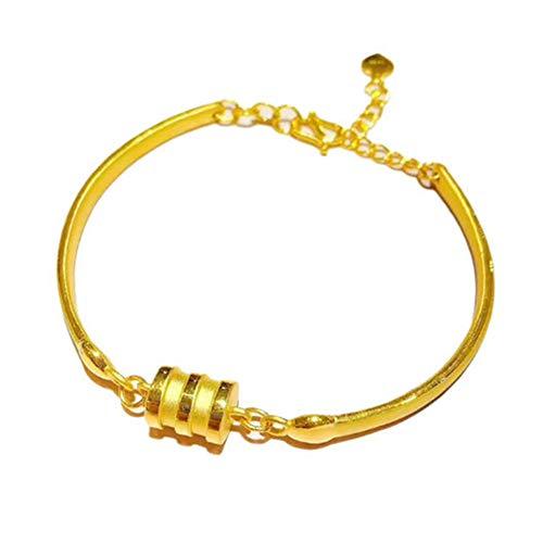 YZJYB Armband Gold Weibliche Modelle 999 Goldarmband Goldkette Armreif, Verstellbar Armreifen, Frauen Mädchen Fine Jewelry Verlobung Hochzeit Geschenk 999 Vintage Armreif Trendige Minimalistisch