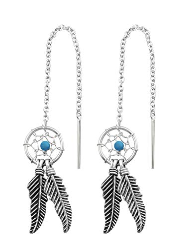 The Rose & Silver Company Women 925 Sterling Silver Imitation Turquoise Dreamcatcher Threader Earrings RS0910
