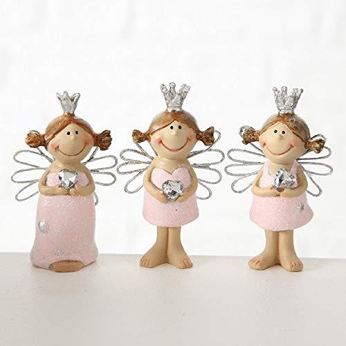 Home Collection Engel Schutzengel mit Krönchen und Herz, 3er Set Sortiert, rosa und Silber, Kunstharz, Höhe 6,5cm