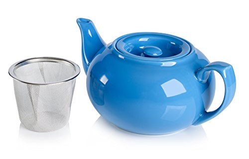 Sky Blue Glossy Ceramic Kettle with Infuser Basket