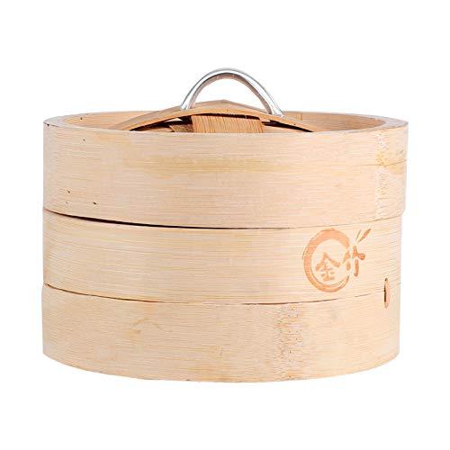Cabilock Vaporera de Bambú Cesta de Vapor de Alimentos de 2 Niveles Mini Vaporera de Vapor Caja de Vaporizador Portátil para Albóndigas Verduras Pollo Cocina con Tapa 13Cm